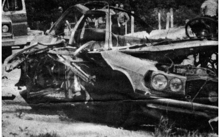 Mike Cagnoni's Mercedes after he was blown up in it
