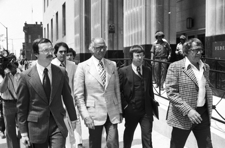 Tony Jack is escorted into court by Joey Jack (back left) & his baby bro Billy Jack (far right)