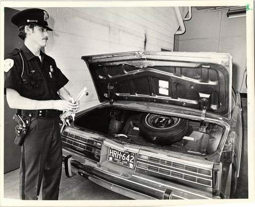 The trunk of Joey Jack's Mercury