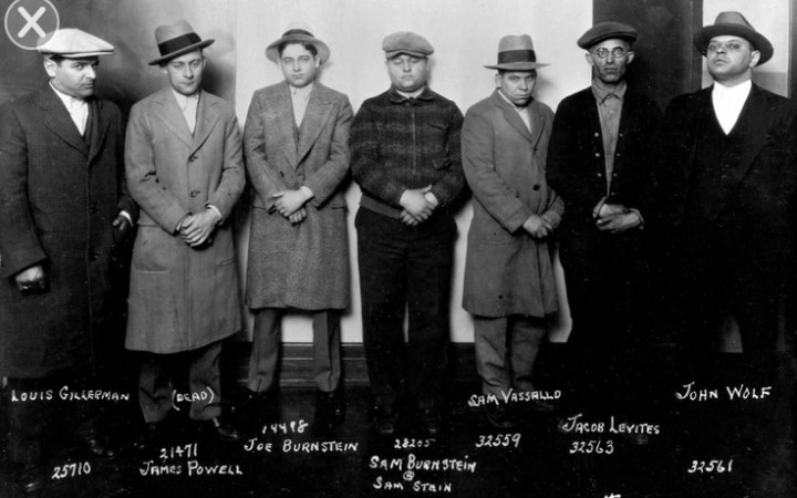 "A DPD Purple Gang lineup photo - notice ""Dapper Joe"" Burnstein and his cousin Sam ""Fatty"" Burnstein"