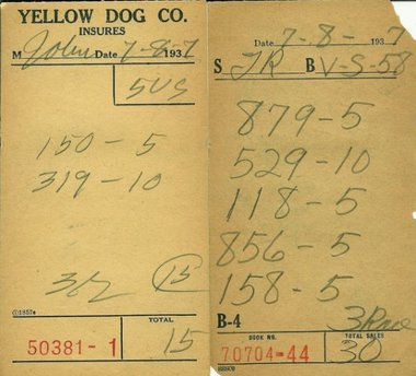 Policy slip from Monk Watson's Yellow Dog numbers bank