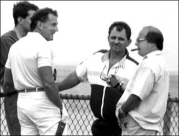 """Fmr. Boston mob baron Cadillac Frank Salemme (left) and his man In Providence Bobby """"The Cigar"""" DeLuca (w/ cigar) in an FBI surveillance photo from 1989"""